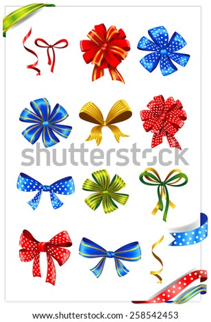 Set of gift bows with ribbons. Vector illustration.  - stock vector