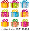 set of gift boxes in different colors and different patterns - stock vector