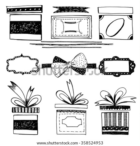 Set of  gift boxes with bows and ribbons, frames. Handdrrawn vector illustration. - stock vector