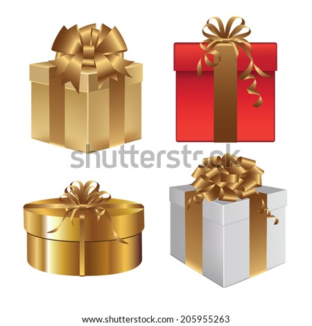 Set of gift boxes with bows and ribbons. Vector illustration - stock vector
