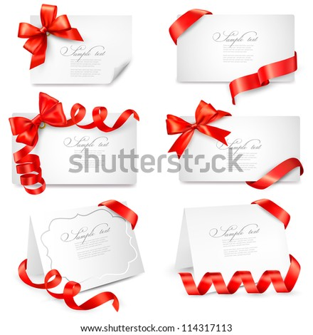 Set of gift cards with red gift bows with ribbons. Vector illustration. - stock vector