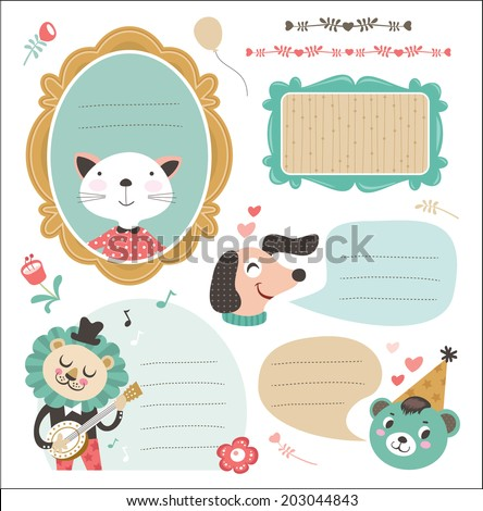 Set of gift tag/ sticker with cute animals  - stock vector