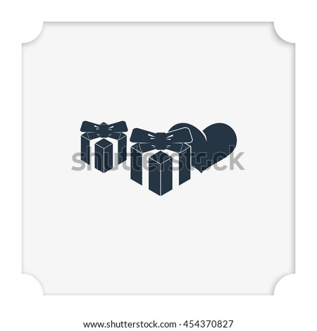 Set of gifts icon. Heart illustration. - stock vector