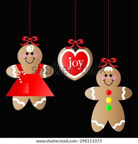 Set of 3 Gingerbread Ornaments on Black Background - stock vector