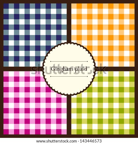 Set of gingham plaid seamless patterns for your design - stock vector