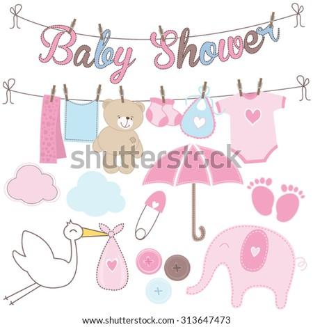 Set of girl baby shower elements - stock vector