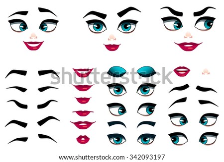 Set of girl emoticons, simple and expressive cartoon female faces. Modern flat vector style. - stock vector