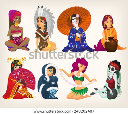 Set of girls of different nationalities, representing their countries. With seamless patterns at background. EPS 10  - stock vector