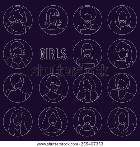 Set of Girls portraits with different hairstyles in line design. Vector illusatrtion - stock vector