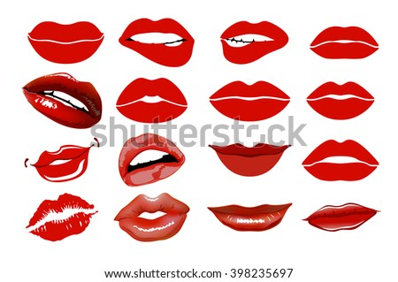 Set of 16 glamour lips, with vinous lipstick colors. Vector illustration. element. Woman's lip gestures set. Girl mouths close up with red lipstick makeup expressing different emotions. EPS10 vector.  - stock vector