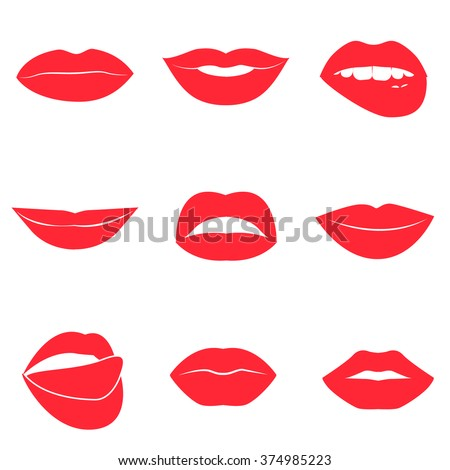 Set of glamour red lips. Beautiful female lips collection. Sexy kisses. Romantic smiles. Passion mouths. Lips with teeth and tongue. Lipstick advertisement. Romantic aspect. Vector flat style icons.  - stock vector