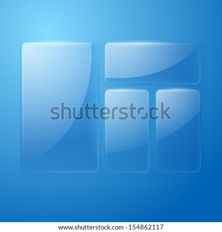 Set of glass banners on blue background. Vector illustration - stock vector