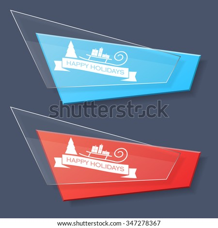 Set of glass banners with Christmas logotype. Vector illustration for decorate web-sites, mobile apps and games. - stock vector