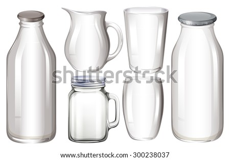 Set of glass containers with no label  - stock vector