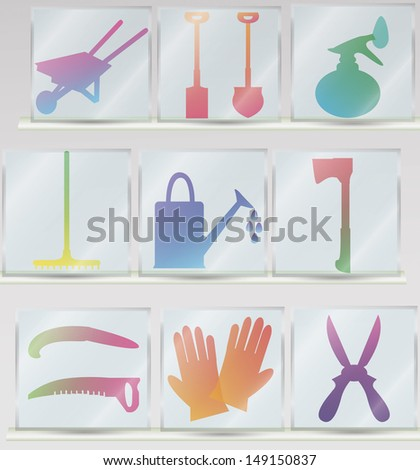 set of glass icons of garden tools including ax, scissors, shovel, saw, gloves, watering can, sprayer - stock vector