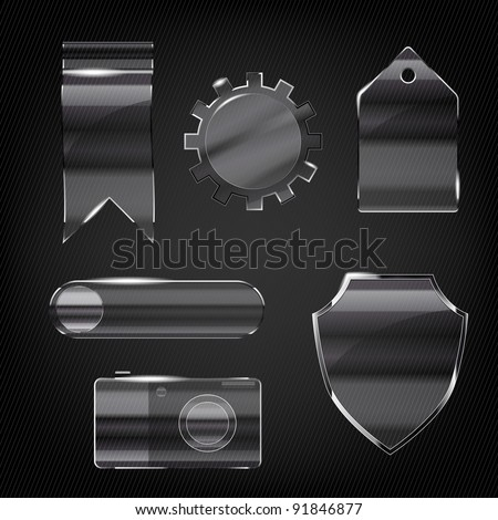 Set of glass transparent icons for any non-white background - stock vector