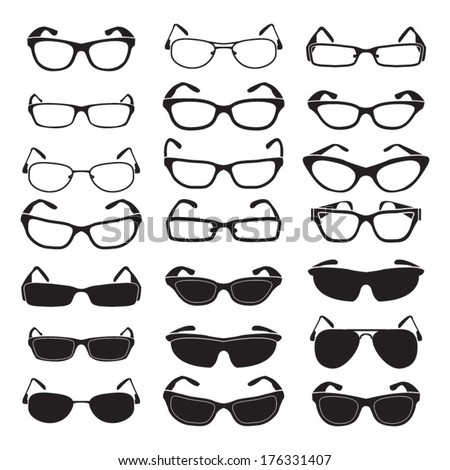 Set of glasses and sunglasses - stock vector