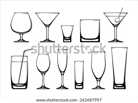 Set of glasses. Vector on white background. - stock vector