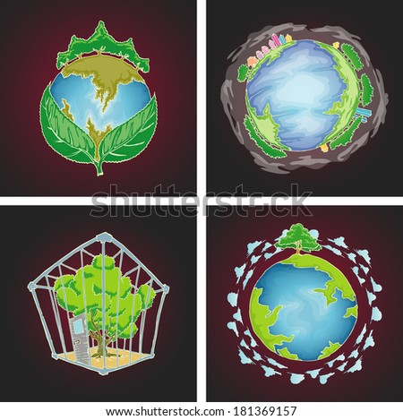 set of globe, tree and environment concept isolated in black - stock vector