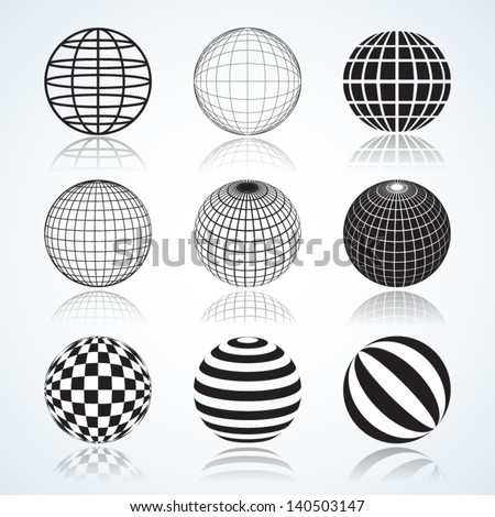 Set of 9 Globes, Abstract Elliptical Design Elements Vector illustrations isolated on white background, useful infographic and logo templates. - stock vector