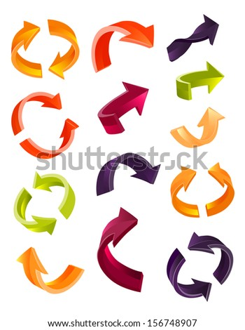 Set of glossy arrow icons for web design on white background - stock vector