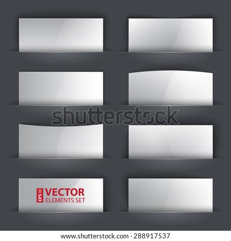 Set of glossy blank paper banners with realistic shadows on gray background. RGB EPS 10 vector illustration - stock vector