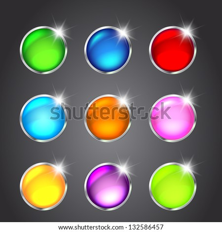 Set of glossy button icons for design. Vector illustration - stock vector