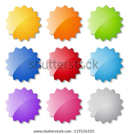 set of glossy buttons - stock vector