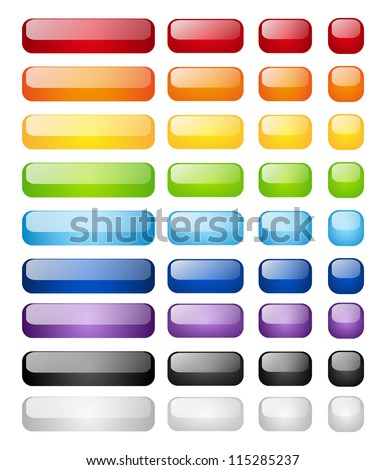 Set of glossy buttons isolated on white - stock vector