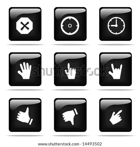 Set of glossy buttons with icons. Black and white series. - stock vector