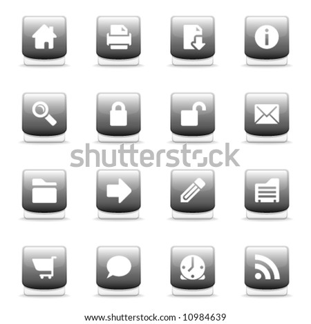 Set of glossy gray web and internet icons - stock vector