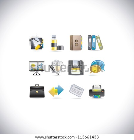 set of glossy icons - stock vector