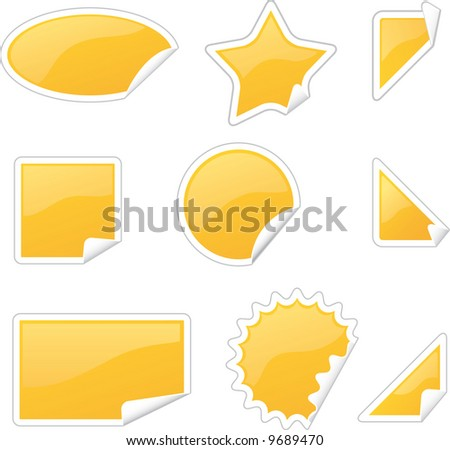 set of glossy labels in various shapes with peels - stock vector