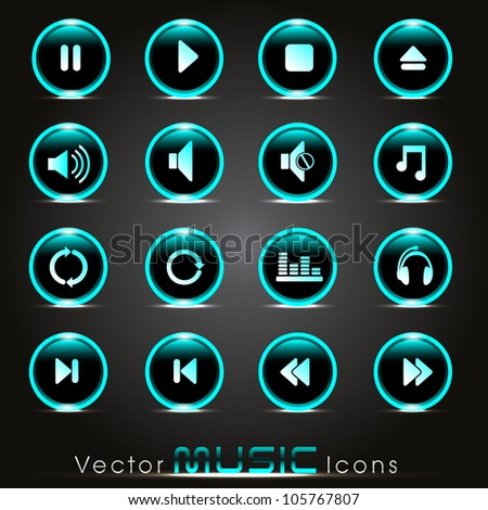Set of glossy music web icons in green color on shiny black background. EPS 10. Vector illustration. - stock vector