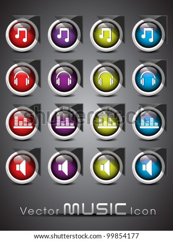Set of glossy music web 2.0 icons or buttons in red, purple, yellow and blue colors color on transparent background. EPS 10. Vector illustration. - stock vector