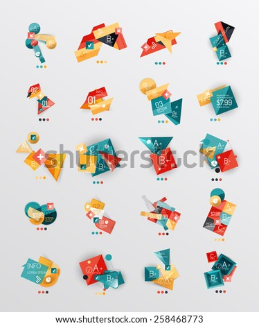 Set of glossy paper style geometric abstract infographics, 3d shapes with light edges - stock vector