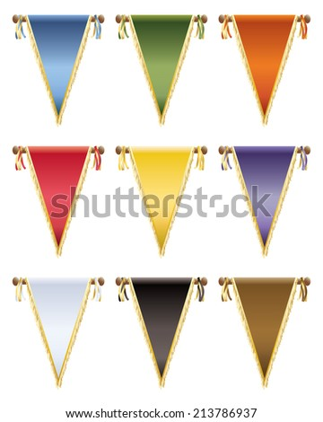 set of glossy pennants with gold tassels, 9 variations isolated on white - stock vector