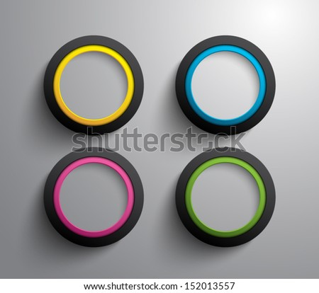 Set of glossy plastic rings for websites or business design. Clean and modern style - stock vector