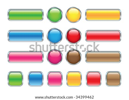 set of glossy web buttons - stock vector