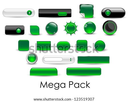 Set of glossy web buttons-Vector.EPS10 - stock vector