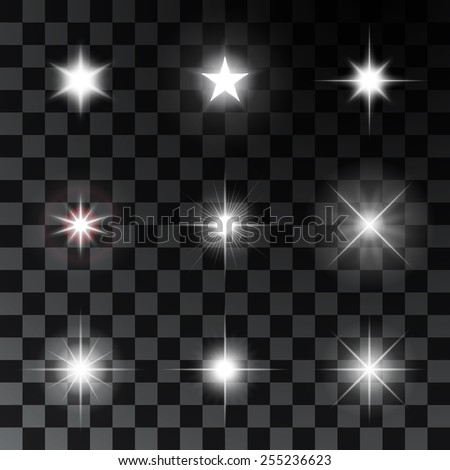 Set of glowing and sparkling stars. Vector illustration - stock vector