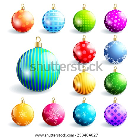 Set of glowing colorful glass Christmas and New Year balls, isolated on white background. Beautiful festive decorations, element of design. Vector illustration - stock vector