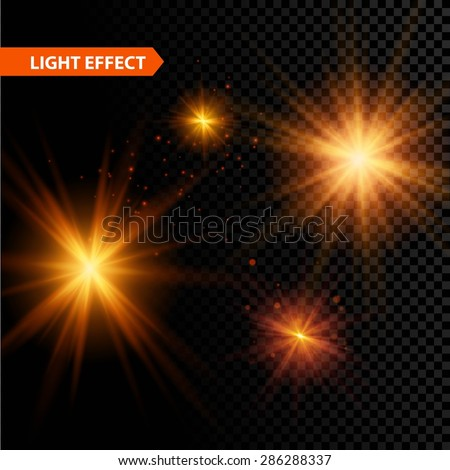 Set of  glowing light effect stars bursts with sparkles on transparent background. Vector illustration EPS 10 - stock vector