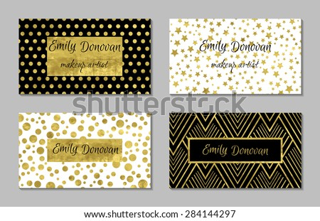 Set of 4 gold and white business card template or gift cards.  Texture of gold foil. Luxury vector illustration. Easy editable template. Space for  text. Stars, confetti. - stock vector