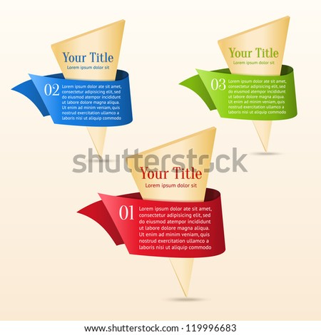 Set of gold banners with ribbon. Can use for special offers, promotion or infographics - stock vector