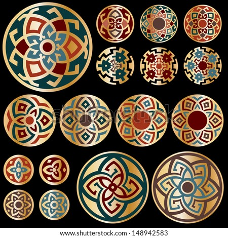 Set of gold colorful round geometric designs isolated on black background. Vector floral symbols and signs illustration. All objects are separated, the can be scaled or recolored without quality loss. - stock vector