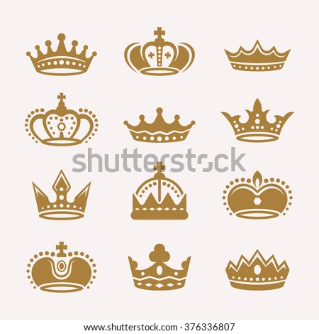 Set of gold crowns isolated vector icons, royal crowns silhouette, king crowns collection. Antique crowns premium quality design elements - stock vector