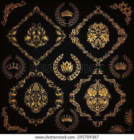 Set of gold damask ornaments. Floral element, ornate border, corner, crown, frame, laurel wreath for design. Page, web royal decoration on black background in vintage style. Vector illustration EPS 10 - stock vector