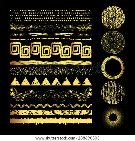 Set of  gold grunge elements.Hand drawn banners or brush or dividers and frame.Vector illustration. Editable isolated elements for graphic design. Gold shapes on a black background. Freehand.  - stock vector