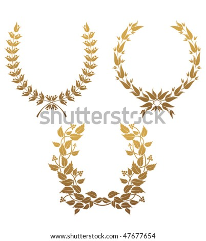 Set of gold laurel wreaths for design. Jpeg version is also available - stock vector